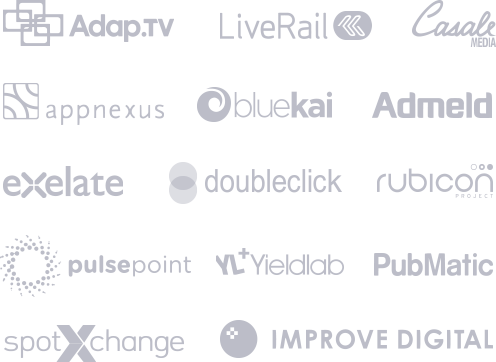 Adap.tv, LiveRail, Casale Media, AppNexus, Bluekai, Admeld, exelate, DoubleClick, rubicon, pulsepoint, Yieldlab, Pubmatic, spotxchange, Improve Digital