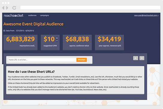 Set up an account on Reachsocket to begin tracking and measuring your audience.